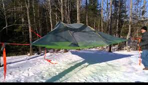 pitching our tentsile a camping hammock type tent bit like