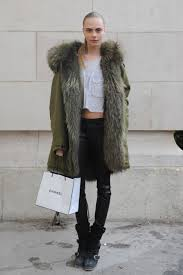 white biker boots cara delevingne stylechi army green coat fur lining hood part