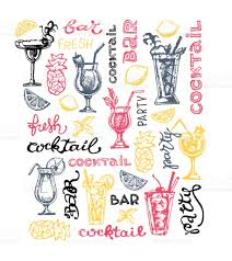 vintage cocktail party illustration cocktail set elements for the graphic design of the menu bars