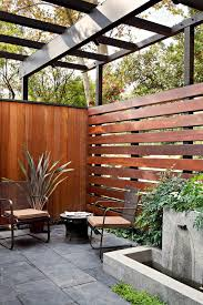 Modern Backyard Fence by Horizontal Cedar Privacy Fence Patio Contemporary With Simple