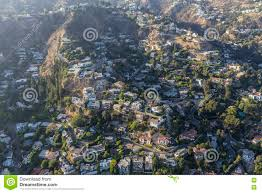 hillside homes and smog aerial in the hollywood hills stock photo