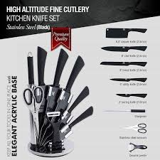 Cutlery Kitchen Knives Amazon Com 9 Pc Stainless Steel Kitchen Knife Block Set Bonus
