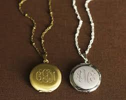 monogram locket necklace monogram locket etsy