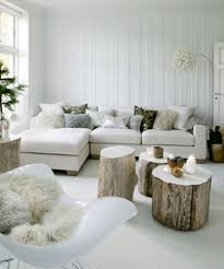 rustic branch coffee table with fur slipcover for winter living