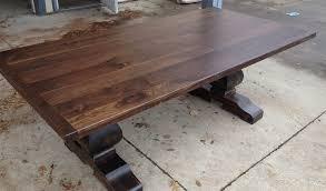 trestle base dining table black walnut sculpted base trestle table table and chairman fine