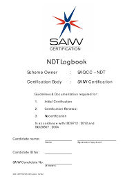 saiw certification ndt ndt logbook nondestructive testing