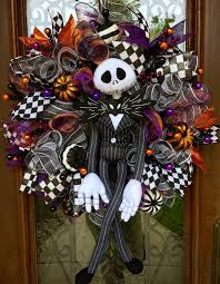 Halloween Mesh Wreaths by Jack Skellington The Nightmare Before Christmas Wreath For