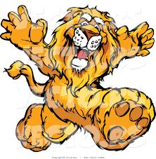 vector happy cartoon lion mascot running chromaco 853