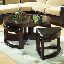 round coffee table with 4 ottomans designing inspiration