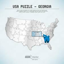 Map Georgia Usa by Usa Map Puzzle One State One Puzzle Piece Georgia Atlanta