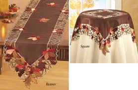 autumn harvest table linens embroidered autumn leaves table linens fall decor and inspiration