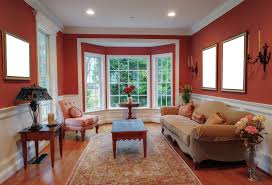 home interior cool bay window design with white wooden bench and