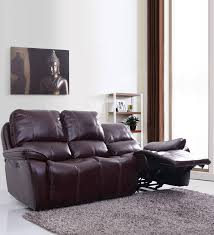 three seater recliner sofa buy scotland three seater recliner sofa in brown leatherette by evok