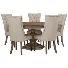 Round Dining Table And Chairs City Furniture Haddie Light Tone Round Table U0026 4 Upholstered Chairs