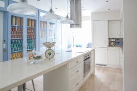 Open Kitchen Design by Long Cantilevered Stone Island Open Kitchen Storage Bespoke