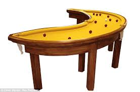 l shaped pool table snooker fruity artist goes completely potty with banana shaped pool