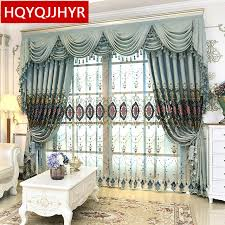 royal blue bedroom curtains royal luxury european embroidery high shade curtains for living