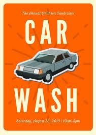 orange car vintage icon car wash flyer templates by canva