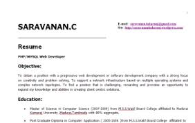 Sample Php Developer Resume by Two Years Experience Resume Sample Saravanan