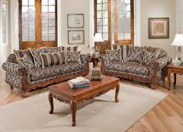 Simple Wooden Sofa Set Textured Fabric Traditional Living Room W Carved Wood Accents