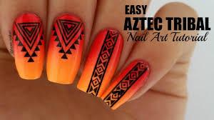 easy neon aztec tribal nails easy nail art youtube