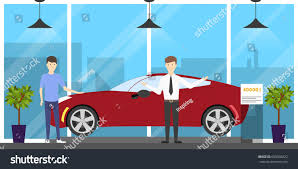 Car Salesman Education Automobile Showroom Set On White Background Stock Vector 609326822