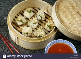 steamer cuisine dim sum prepared in bamboo steamer with sauce steam eat