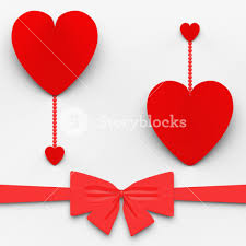 two hearts with bow meaning loving celebration or decoration