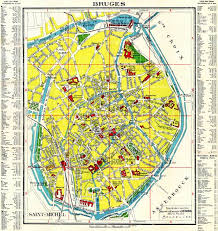 belgium city map map of brügge bruges in 1909 buy vintage map replica poster