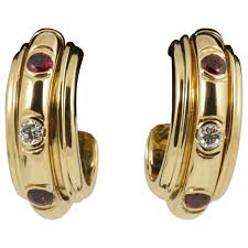 piaget earrings piaget possession ruby gold hoop earrings for sale at 1stdibs