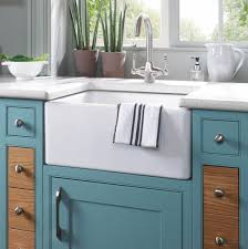 decor apron front sink and teal kitchen cabinets with kitchen