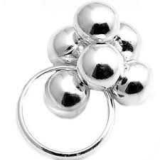 big silver balls ring 925 sterling festive large bunch