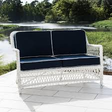 Patio Loveseat Cushion Everglades White Resin Wicker Patio Loveseat By Lakeview Outdoor