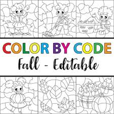 code fall clipart bundle editable color number fall