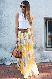 maxi skirt 2018 yellow blossoming floral chiffon maxi skirt 2017 high waist
