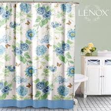 blue floral garden fabric shower curtain by lenox curtainshop com