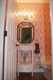 Elegant Powder Room Remodelaholic Coral Trellis Wallpaper Powder Room
