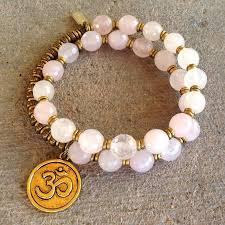pink quartz bracelet images Healing faceted rose quartz 27 bead wrap mala bracelet with om jpg