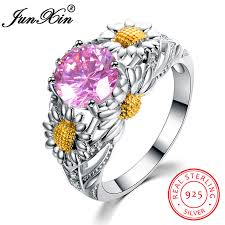 sted jewelry online shop junxin pink cz zircon flower rings for