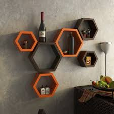 Home Decor Nation Decornation Wall Shelf Rack Set Of 6 Hexagon Shape Storage Wall