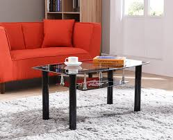 Lower Coffee Table by Amazon Com Hodedah Two Tier Rectangle Tempered Glass Coffee Table