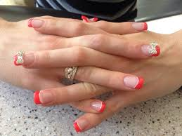 full set acrylic with french tip and 3d bow designs yelp