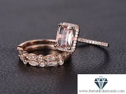 6x8mm emerald cut morganite engagement ring set matching art deco