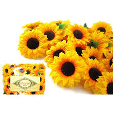 Artificial Sunflowers Amazon Com 12 Big Silk Yellow Sunflowers Sun Flower Heads 5 5