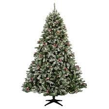 flocked hawthorne prelit tree christmas lights etc