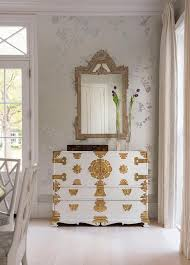 White And Gold Curtains Chinoiserie Dining Room With White And Gold Cabinet French
