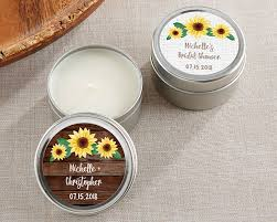 personalized candle favors personalized sunflower candle favor tin garden theme wedding