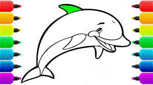 how to draw dolphin colouring pages for children animal coloring