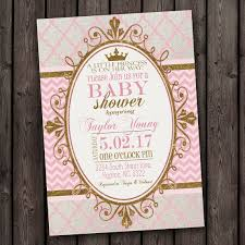 pink and gold baby shower invitations customized fast princess baby shower invitation pink and by