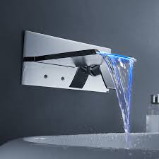 Bathroom Wall Faucet by Changing Led Waterfall Bathroom Sink Faucet Wall Mount At